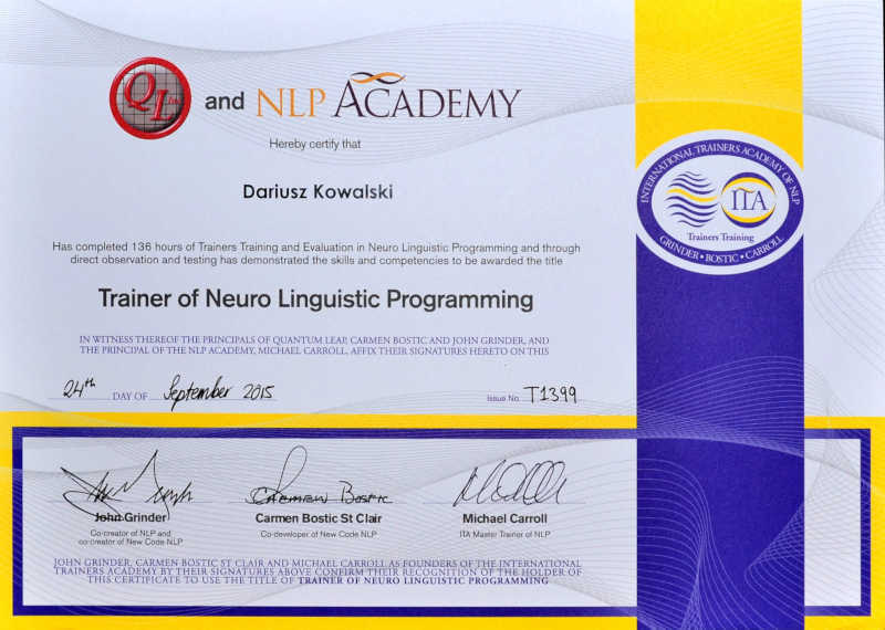 NLP - certyfikat Dariusz Kowalski John Grinder